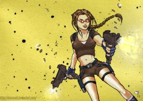 Lara croft against the enemy by dawasaki