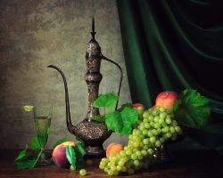 Still life with wine and fruit by Daykiney