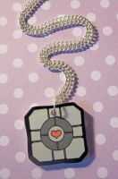 Companion Cube Necklace by egyptianruin