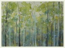 The white birch forest by Qingmu