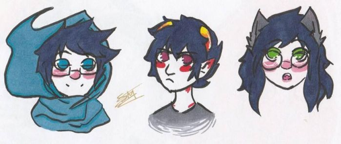 Homestuck: Sharpie John, Karkat and Jade by Smabbles