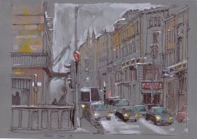 Street on gray paper by yoolchie