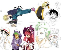 One piece doodles 1 by Ptit-Neko