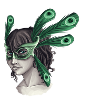 Girl in Peacock Mask by KasumiAlche