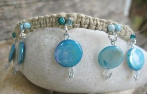 blue lagoon hemp anklet by HempLady4u