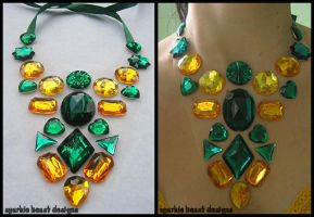Green and Yellow Gem Necklace by Natalie526