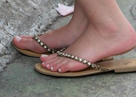 Sexy White Toes in Flip Flops by Feetatjoes