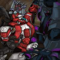 TF- Red Alert vs Soundwave and his Cassetticons by chibigingi