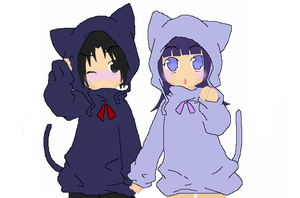 Sasuke and Hinata cats by Blackmoontiger