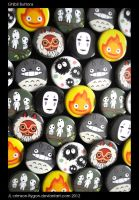 Studio Ghibli Button Wall by pookat