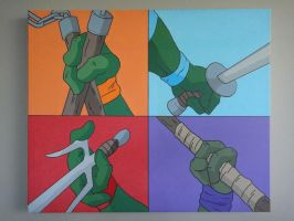 TMNT Pop Art 20x24 Acrylics on canvas by Nixonstellar