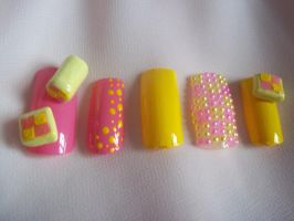 Battenberg Cake Nails by Decembergirl2011
