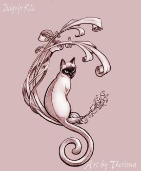 Art Nouveau Cat by Theriona