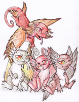 Royal Coatl babies. by Naitoh