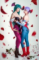 Morrigan Aensland and Lilith by Zyaaa