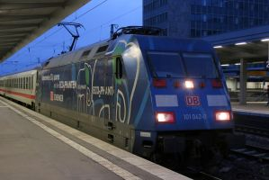 Blue loco in the evening by Budeltier