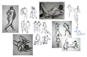 Life Drawing Collage 1 by travelingpantscg