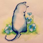 Blue poppies, black cat by sophitera