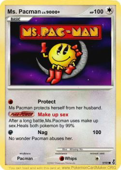 Ms Pacman pokemon card by buggy0004