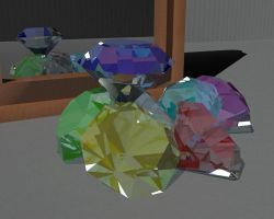 low poly chaos emeralds by thefallenone3296