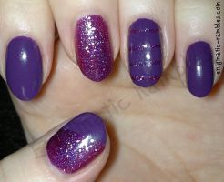 Purple Glitter Striped Nails by EnigmaticRambles
