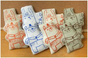 Screen printed plushies by elbooga