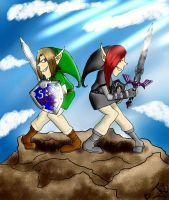 Two friends, raise their swords skyward  by bakugirl126