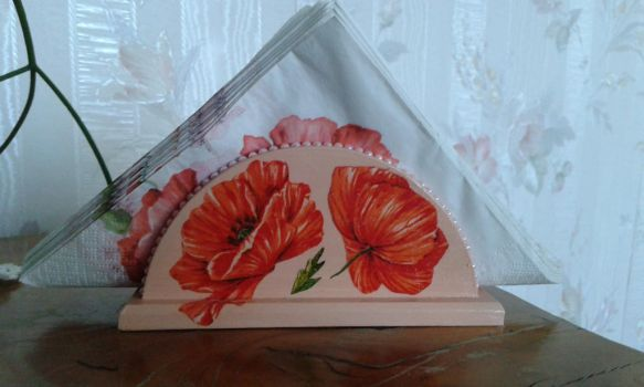 Decoupage napkins with poppies by SteamJo