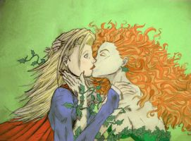 Supergirl and Ivy Kiss by Bloody-Passion