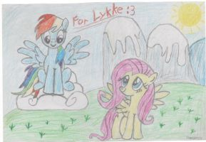 Fluttershy and Rainbow Dash outside by StarDustCz