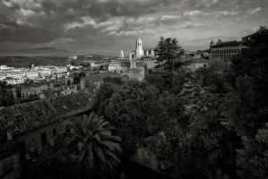 Girona Rooftops in Morning Light. by eternumviti