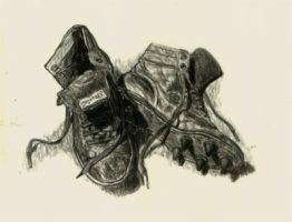 Old Time Football Shoes by Paluso4art