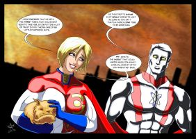 Injustice - Powergirl and Captain Atom by adamantis