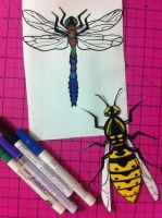 Wasp + Dragonfly Stickers by darcydoll
