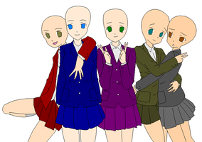 :School Girl Group Base: by laviathan66