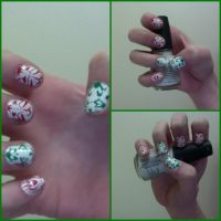 Christmas Damask-Pattern Nails by ThereIsNoMagicCure