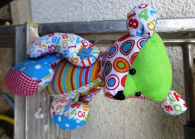 Back to School Patchwork Bear Ours Scolaire by ChouchettePeluchette