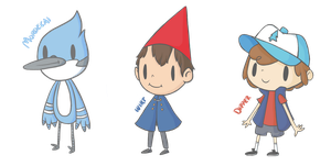 Mordecai, Wirt and Dipper by Suuchann