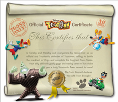 Toontown Certificate by Official-Fallblossom
