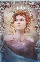My mother in Mucha style by FoxInShadow