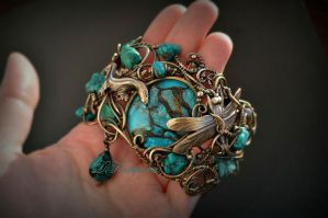 bracelet with turquoise by DARiyaKUTEPOVA