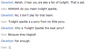 Cleverbot says twilight sparkle is best pony! by xXValizanXx