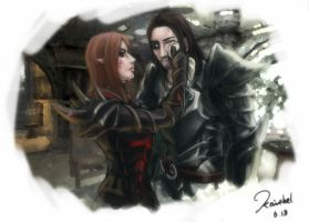 Two love birds in Skyrim by kaithel