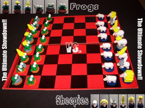 Chess Set - Frogs Vs Sheep by FrogLord