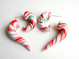 PepperMint Candy Cane Fake Gauge Taper Earring by cashewed-almonds