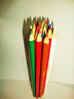 Pencils standing upright by Laura-in-china