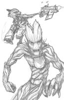 Groot and Rocky Pencils by DecayingArt