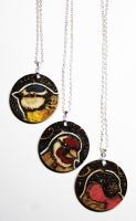 Pyrography and Enamel - Garden Bird Pendants by BumbleBeeFairy