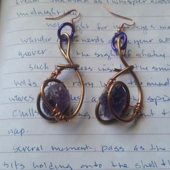 Bronzed amethyst earrings by Starlight-Redslate