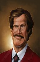 Stay Classy, Ron Burgundy Caricature by NightshadeBerry